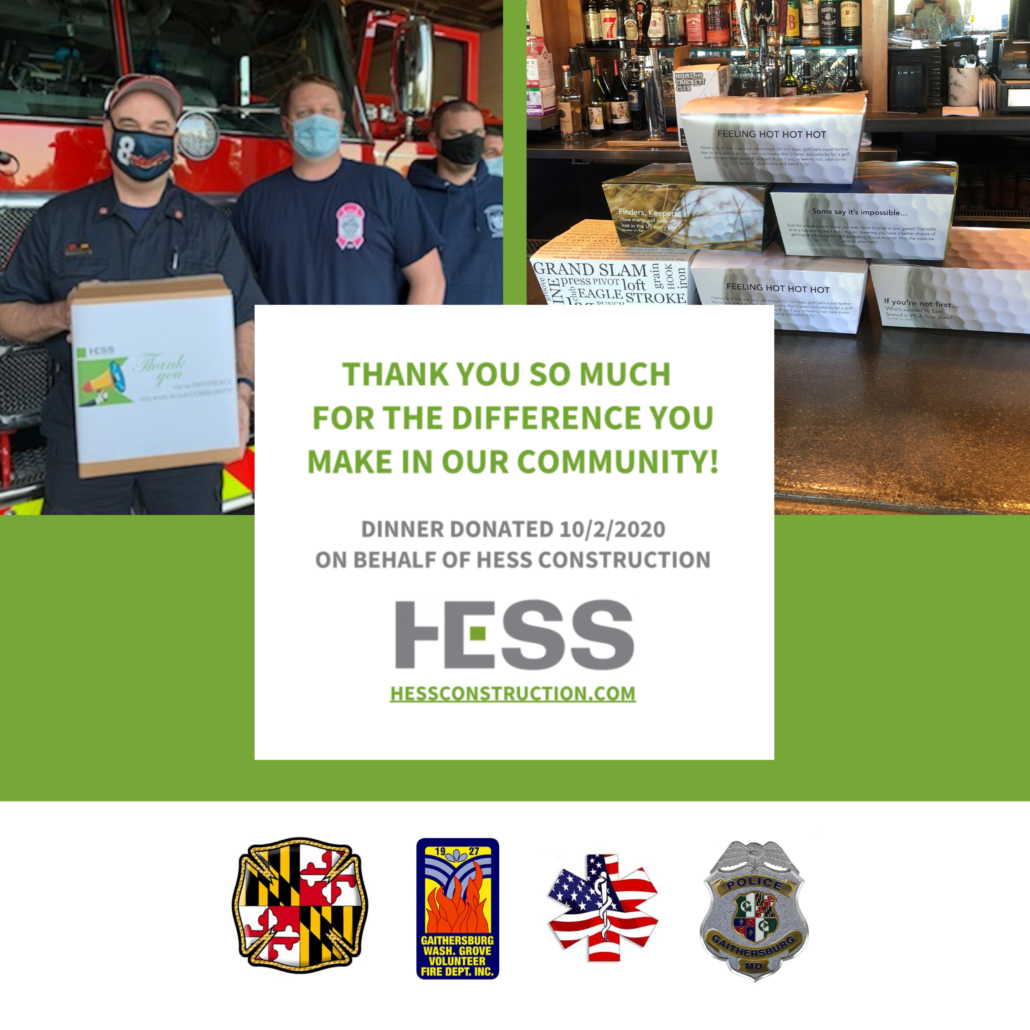 HESS donates meals to local first responders-2020